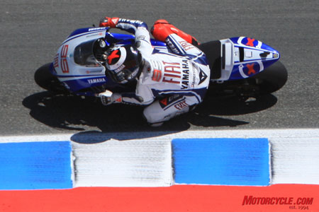 Jorge Lorenzo scored pole position despite highsiding twice in qualifying.