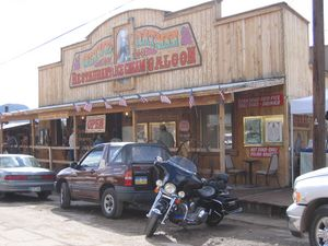 The Olive Oatman Saloon, named after the daughter of a couple from Illinois who were killed by Apaches. Olive was taken prisoner, and made a slave for most of her life, eventually rescued, and lived here for a while.
