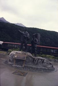The Skagway Centennial Statue depicts a Tlingit guide and gold hunter.