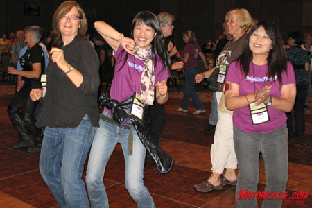 Dancing fool, Jody Waltemeyer from Denver hosted eight members from the Japanese contingent of the Women's International Motorcycle Association. The WIMA delegates raved that the Conference was the best women's event they'd ever attended.