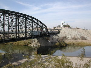 The old train bridge across the Colorado River in Yuma.