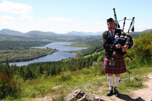Doesn't play the bag pipe while riding. Hopefully that's true of the kilt as well.