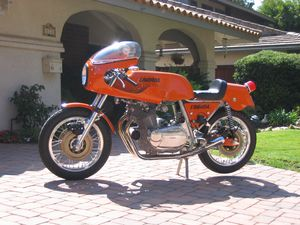The Laverda SFC was capable of 133 mph and weighed 492 lbs. They were painted orange so they could be seen at night during endurance racing.
