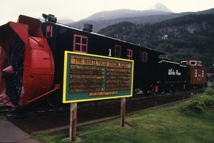 129-ton snowplow cleared the White Pass train tracks. Built in 1895, it was restored and put back in service in 1996.