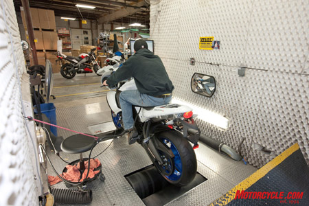 "Every Buell gets placed on this ""rolling road"" for a final systems check."