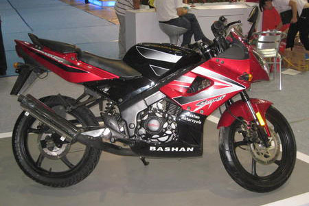 The BS150-11, or MotoR, is a fully faired sportbike boasting a perimeter beam frame and an inverted fork.