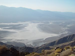 """It may look like snow, but it's really 130 degree salt"" Badwater as seen from Dante's View"