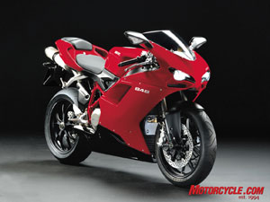 The 848's claimed 134 hp is 30% more powerful than its predecessor, and Ducati says it provides a power-to-weight ratio even better than the potent 999. The 2008 848 Superbike will be available in both Red and Pearl White, with an MSRP of $12,995.