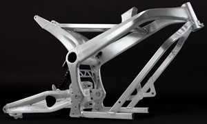 Zero has designed its own components, including this ultralight S/DS street frame. Next on the list is in-house development of powerplants to place in it.