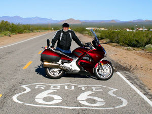 Fred Rau III (me) on Route 66 near Arrowhead Junction. Grandpa passed this way almost 90 years before me.