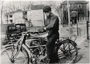 Fred Rau Sr., the man I was named after, aboard his 1914 Excelsior, Atchison, Kansas, 1917.