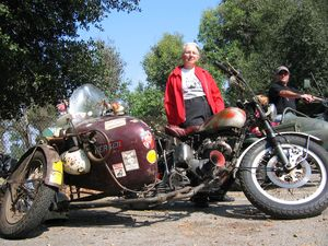 Susie Ellsworth Phelps' 1950 Triumph Thunderbird is not falling apart, her dad, who raced the rig, built it using parts from Plymouth and Buick autos.