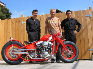 Yoshi and the Garage Company ace mechanics pose with their pavement-hugging MS Bobber, a.k.a. Speed Boy Special.