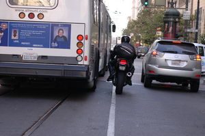 If you think this looks dangerous, you should try riding in a MUNI bus down Market street. Photograph by Todd Sanchioni.