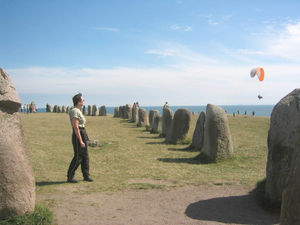 Linda Lockhart contemplates the twin ancient Viking arts of large stone arrangement and hang gliding.