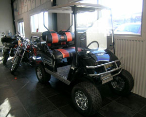 Among all the bikes, you�ll even find Harley-inspired golf carts at The Shop.