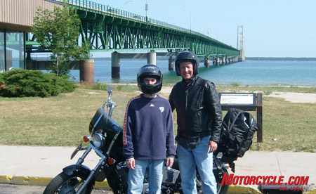 Motorcycle explorers Clark and Clark at the Mackinac Bridge. Meriwether and William, we feel ya, dudes.