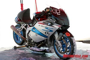 Between runs, the Max RPM team pulled off parts of the bodywork to check the turbo setup (just out of sight under the bike) for problems or leaks.