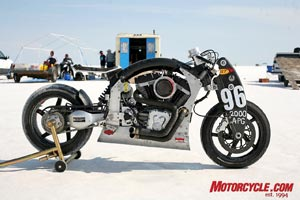 Even in the Bonneville pits, with wild custom bikes everywhere you look, the Confederate Wraith was impossible to miss - those massive, bladed front suspension arms certainly are eye-catching!