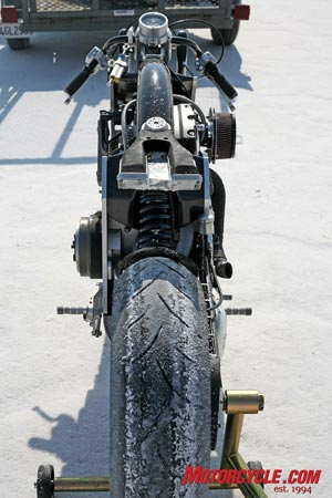 The Wraith's carbon-fiber spine frame allows it to be much narrower than a perimeter-framed machine, and the small frontal area gives even more aerodynamic benefits than the bladed front suspension.  Don't worry - the seat is only a prototype, and the production machine will feature a far cleaner-looking and more comfortable piece.