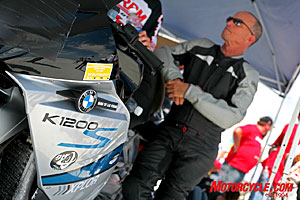 Bonneville record-holder Andy Sills waits for his turn to run the BMW Xplore K1200S down the salt course.