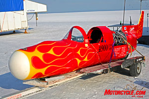 The headlining event at BUB's fourth annual Speed Trials was, of course, the 300-mph-plus streamliners. Mediocre salt conditions thwarted attempts to challenge last year's record-breaking shootout.