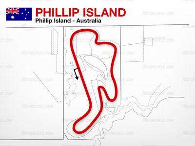 The Phillip Island circuit is a fast course with several elevation changes. Nicky Hayden holds the track's official lap record.