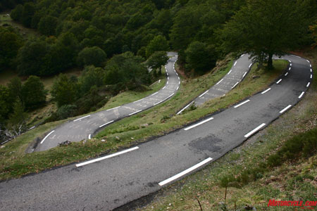 One-lane switchbacks.