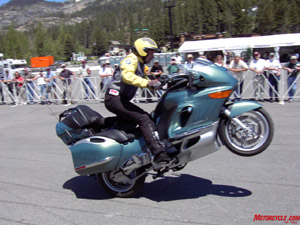 Oh no he di'nt! Who says you can't wheelie a K1200 LT luxury touring bike?