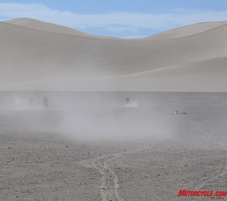 Chritoph del Bondio's idea of fun is riding as fast as possible up Mammoth Dunes.