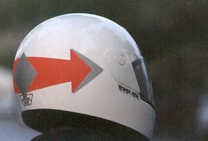 Motoloco makes these groovy directional arrow reflectors for your helmet.