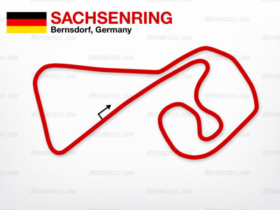 Sachsenring offers a combination of tight twisting curves and long straights.
