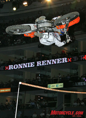 Ronnie Renner makes jumping 33 feet in Friday night's Moto X Step Up look easy.