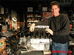 Restoration is a full-time activity at Glenn's Ojai, CA, workshop. In this case a 1930 Henderson KJ 4-cylinder engine.