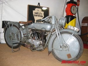 An example of bikes offered by Bator International is this 1915 H-D 11 hp Model 16f originally sold in the UK and fitted with solid wheels and 1950 monochromatic gray paintjob.