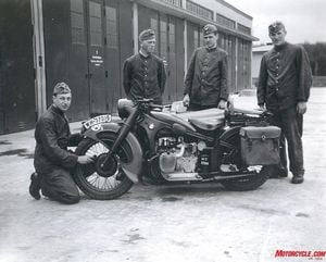 Multi-Service: Motorcycles also served at Luftwaffe airbases, with the medical corps and alongside Panzer (tank) and artillery divisions as well as with the notorious SS & Waffen SS units. Here mechanics tend to their pride and joy, a BMW R4.