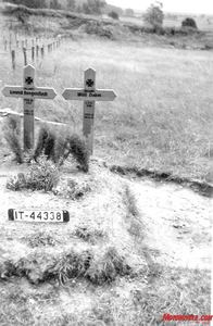 The Russian Front 1942. A license plate identifies this grave site as the final resting place for two German motorcycle troopers.