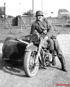 Sidecar Soldier: This army private may be smiling, but the BMW R61 he's been riding was not designed for off-road use. It would not fare well when the Russian rains turned roads into quagmires.