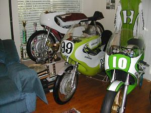 Dave Crussell's house is tiny a museum dedicated to Kawasaki's racing past. Wonder where his wife sleeps?