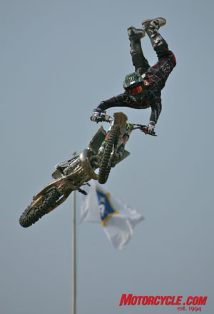 Adam Jones flies into the golden seat during the qualifying rounds of theMoto X Freestyle competition.