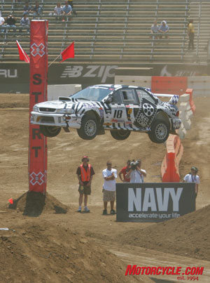 Team Paladin Rally's [18] Matt Iorio and fellow MO-ron Ole Holter flying high in the second X Games Rally Car Race.