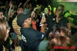 Posdnuos of De La Soul braves the crowd to awaken the back rows during the Monster After Party held at the LA Crash Mansion