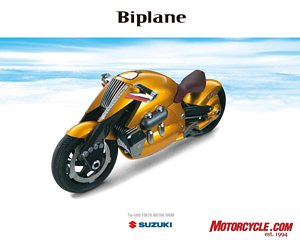 The over-the-top styling of the Suzuki Biplane concept is an attempt to bring together the concepts of airplane and motorcycle, according to Suzuki's minimal press material.