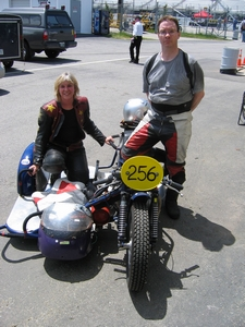 Sandy has been racing sidecars for 11 years. At 55 she's still going strong.
