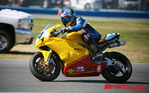The Screamin' Duc Racing team competed with their Ducati 800SS in the Moto-ST on Sunday at Daytona International Speedway. The series is open to a wide variety of brands and models divided into three classes.