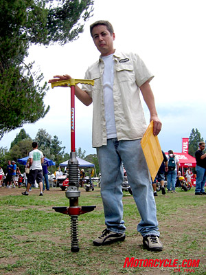 You�ll have to sign a lengthy waiver before hopping on this pogo stick powered by a 250cc two-stroke engine.