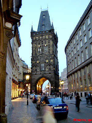 Prague at twilight.
