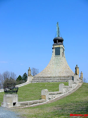 This memorial at Austerlitz commemorates the bloody battle between Russian and Austrian armies and Napoleon's invading forces. Nearly 30,000 lost their lives in the conflict.