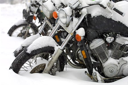 This is a perfect example of how NOT to winterize your motorcycle.