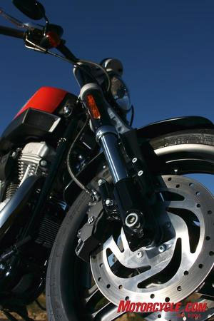 The front brake provides most of the stopping power on a motorcycle.